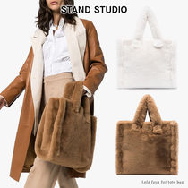 Stand Casual Style Faux Fur A4 Plain Elegant Style Totes