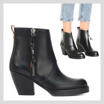 Acne Casual Style Plain Leather Block Heels Ankle & Booties Boots