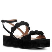 Azzedine Alaia Open Toe Platform Casual Style Suede Blended Fabrics Studded