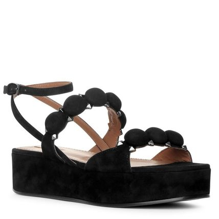 Open Toe Platform Casual Style Suede Blended Fabrics Studded