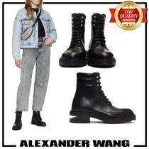 Alexander Wang Round Toe Casual Style Plain Leather Mid Heel Boots