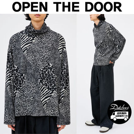 Pullovers Leopard Patterns Unisex Street Style Long Sleeves