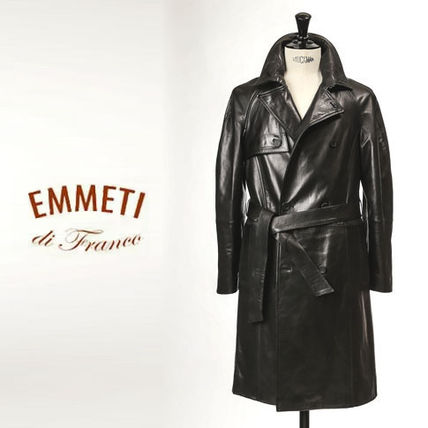 Stand Collar Coats Plain Leather Long Biker Jackets