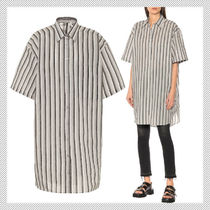 Acne Stripes Casual Style Cotton Medium Short Sleeves