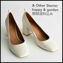 & Other Stories Square Toe Plain Leather Block Heels Office Style