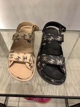 CHANEL ICON Casual Style Enamel Blended Fabrics Footbed Sandals Logo