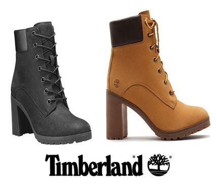 Lace-up Street Style Plain Leather Logo Lace-up Boots