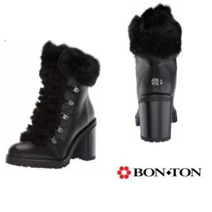 Round Toe Casual Style Faux Fur Leather Block Heels