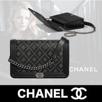 CHANEL BOY CHANEL Other Check Patterns Unisex Calfskin Studded Chain Plain