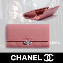 CHANEL Unisex Calfskin Plain Folding Wallet Logo Long Wallets