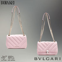 Bvlgari Calfskin Plain Party Style Elegant Style Shoulder Bags