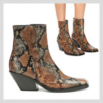 Acne Casual Style Leather Block Heels Python