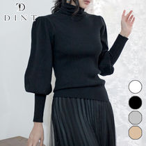DINT Puffed Sleeves Long Sleeves Plain Medium High-Neck
