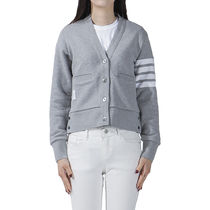 THOM BROWNE Short Stripes Casual Style Long Sleeves Cotton Office Style