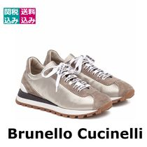 BRUNELLO CUCINELLI Round Toe Lace-up Casual Style Unisex Suede Blended Fabrics