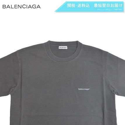 BALENCIAGA Crew Neck Crew Neck Unisex Street Style Plain Cotton Short Sleeves