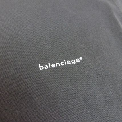 BALENCIAGA Crew Neck Crew Neck Unisex Street Style Plain Cotton Short Sleeves 3
