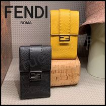 FENDI BAGUETTE Unisex Plain Leather Smart Phone Cases
