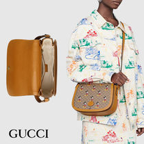 GUCCI Monogram Casual Style Calfskin Blended Fabrics Street Style