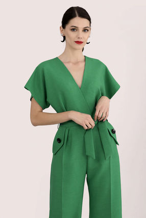 Dungarees Casual Style V-Neck Plain Party Style Office Style