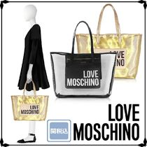 Love Moschino Casual Style Crystal Clear Bags Elegant Style Logo Totes