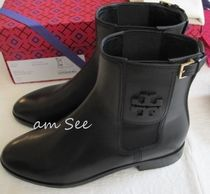 Tory Burch Round Toe Plain Leather Elegant Style Ankle & Booties Boots