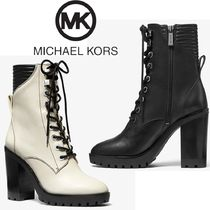 Michael Kors Round Toe Lace-up Casual Style Plain Leather Block Heels