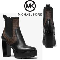 Michael Kors Platform Casual Style Leather Elegant Style High Heel Boots