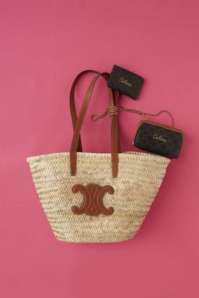 CELINE Straw Bags A4 Leather Straw Bags 4