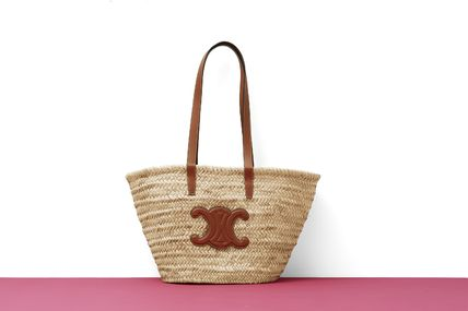 CELINE Straw Bags A4 Leather Straw Bags 5