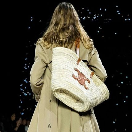 CELINE Straw Bags A4 Leather Straw Bags