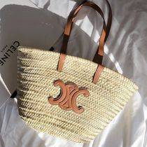 CELINE A4 Leather Straw Bags
