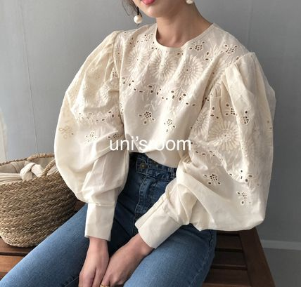 Shirts & Blouses Flower Patterns Casual Style Puffed Sleeves Long Sleeves