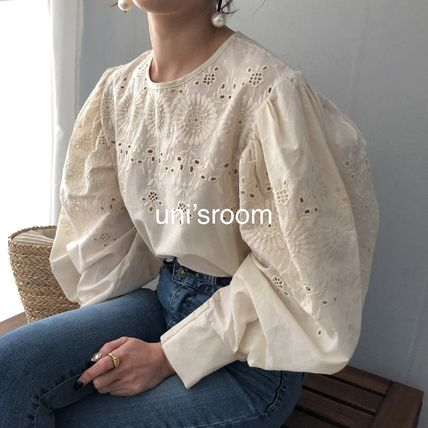 Shirts & Blouses Flower Patterns Casual Style Puffed Sleeves Long Sleeves 2