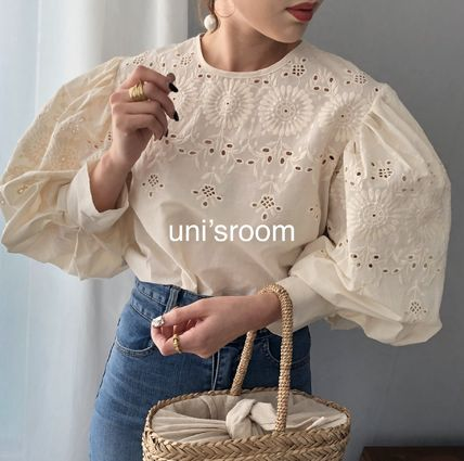 Shirts & Blouses Flower Patterns Casual Style Puffed Sleeves Long Sleeves 3