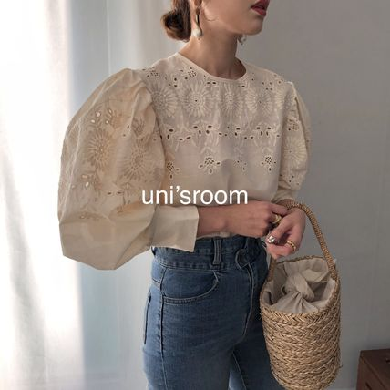 Shirts & Blouses Flower Patterns Casual Style Puffed Sleeves Long Sleeves 4