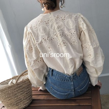 Shirts & Blouses Flower Patterns Casual Style Puffed Sleeves Long Sleeves 5