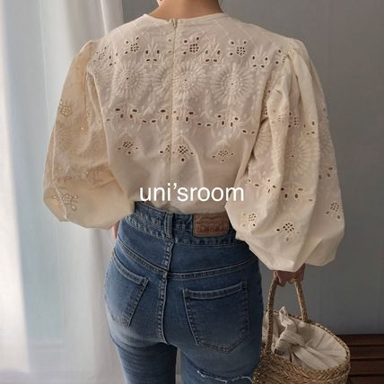 Shirts & Blouses Flower Patterns Casual Style Puffed Sleeves Long Sleeves 7