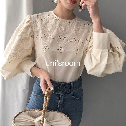 Shirts & Blouses Flower Patterns Casual Style Puffed Sleeves Long Sleeves 8