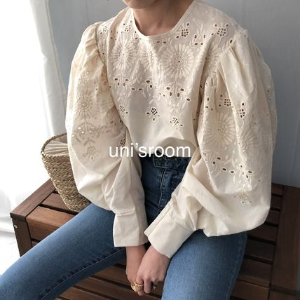 Shirts & Blouses Flower Patterns Casual Style Puffed Sleeves Long Sleeves 9