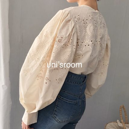 Shirts & Blouses Flower Patterns Casual Style Puffed Sleeves Long Sleeves 11