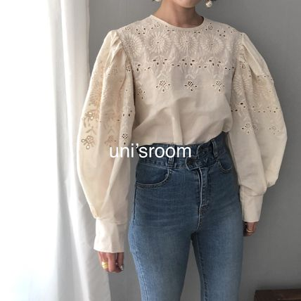 Shirts & Blouses Flower Patterns Casual Style Puffed Sleeves Long Sleeves 12