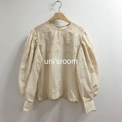 Shirts & Blouses Flower Patterns Casual Style Puffed Sleeves Long Sleeves 14