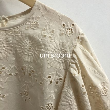Shirts & Blouses Flower Patterns Casual Style Puffed Sleeves Long Sleeves 15