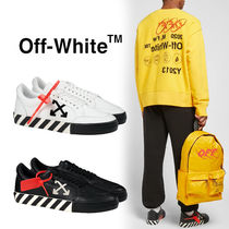 Off-White Stripes Street Style Leather Sneakers