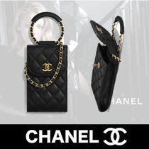 CHANEL Unisex Chain Plain Leather Smart Phone Cases