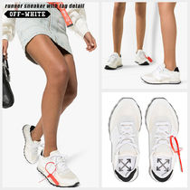 Off-White Round Toe Rubber Sole Lace-up Casual Style Blended Fabrics
