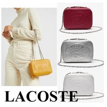 LACOSTE Casual Style Plain Leather Party Style Elegant Style