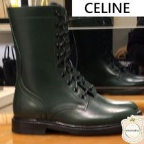 CELINE Lace-up Casual Style Leather Lace-up Boots