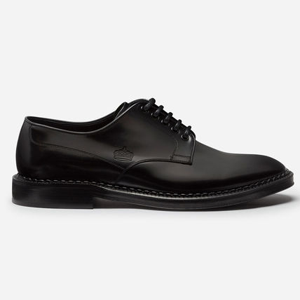 Sheepskin Plain Leather Logo Oxfords